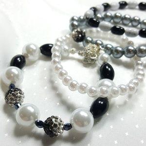 Black and silver stack bracelet